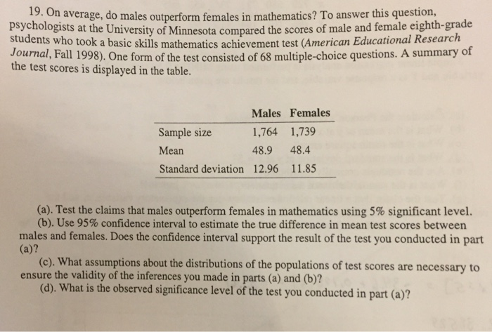 Solved: 19  O N Average, Do Males Outperform Females In Ma