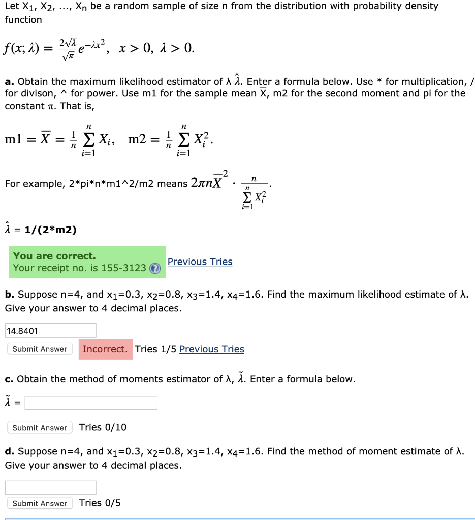 Solved: Let X1, X2,    , Xn Be A Random Sample Of Size N F