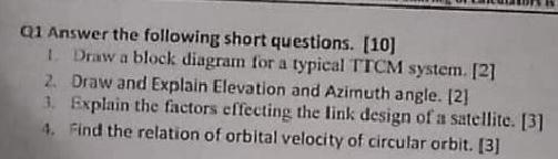 q1 answer the following short questions  [10] i  draw a block diagram