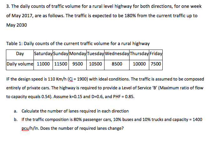 Solved: 3  The Daily Counts Of Traffic Volume For A Rural
