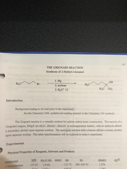 61 THE GRIGNARD REACTION Synthesis Of 2 Methyl Hexanol 1 Mg