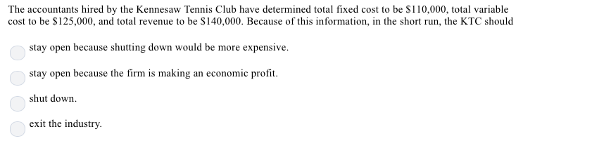 The accountants hired by the Kennesaw Tennis Club have determined total fixed cost to be $110,000, total variable cost to be S125,000, and total revenue to be $140,000. Because of this information, in the short run, the KTC should stay open because shutting down would be more expensive. stay open because the firm is making an economic profit. shut down exit the industry.