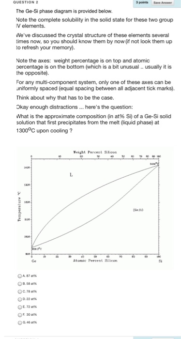 3 points the ge-si phase diagram is provided below  note the complete  solubility
