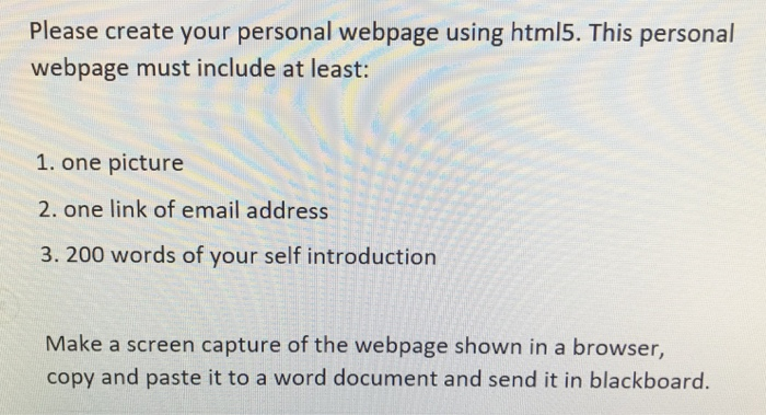 Solved: Please Create Your Personal Webpage Using Html5  T