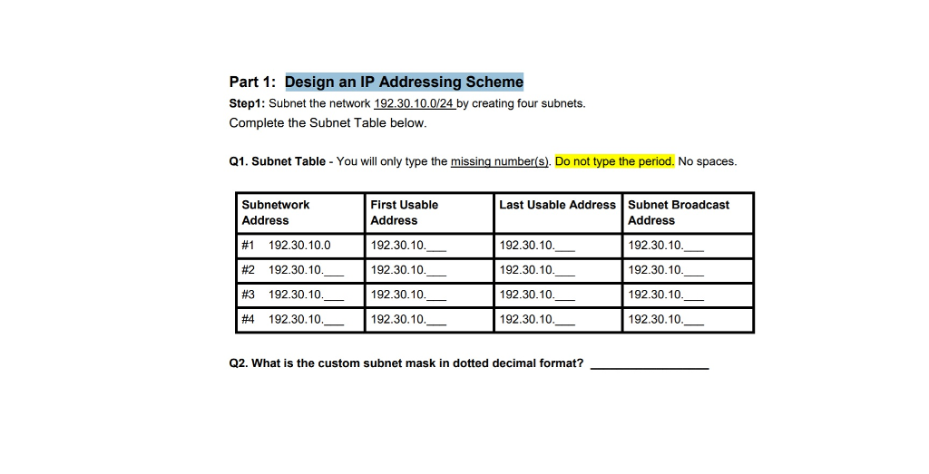 Solved: Part 1: Design An IP Addressing Scheme Step1: Subn