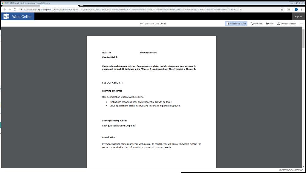 Solved: Word Online Ign In Tve Got A Sccret! Chapter 8 Lab