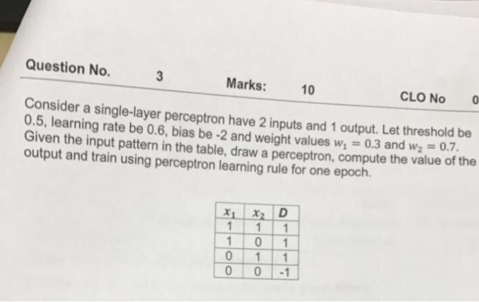 Question No. Marks 10 Consider CLO No 0 0.5, a single-layer perceptron have 2 inputs and 1 output. Let threshold be learning rate be 0.6, bias be -2 and weight values wh Given the input pattern in the table, draw a compute the value of the output and train using perceptron learning rule for one epoch. x, x, D 1 1 1 1 1