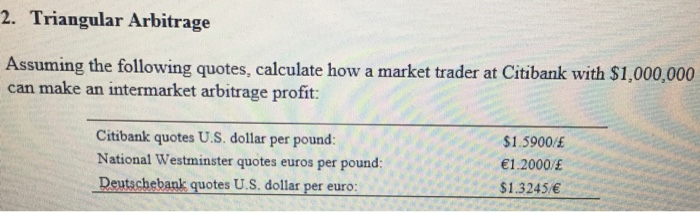 Triangular Arbitrage Uming The Following Quotes Calculate How A Market Trader At Citibank