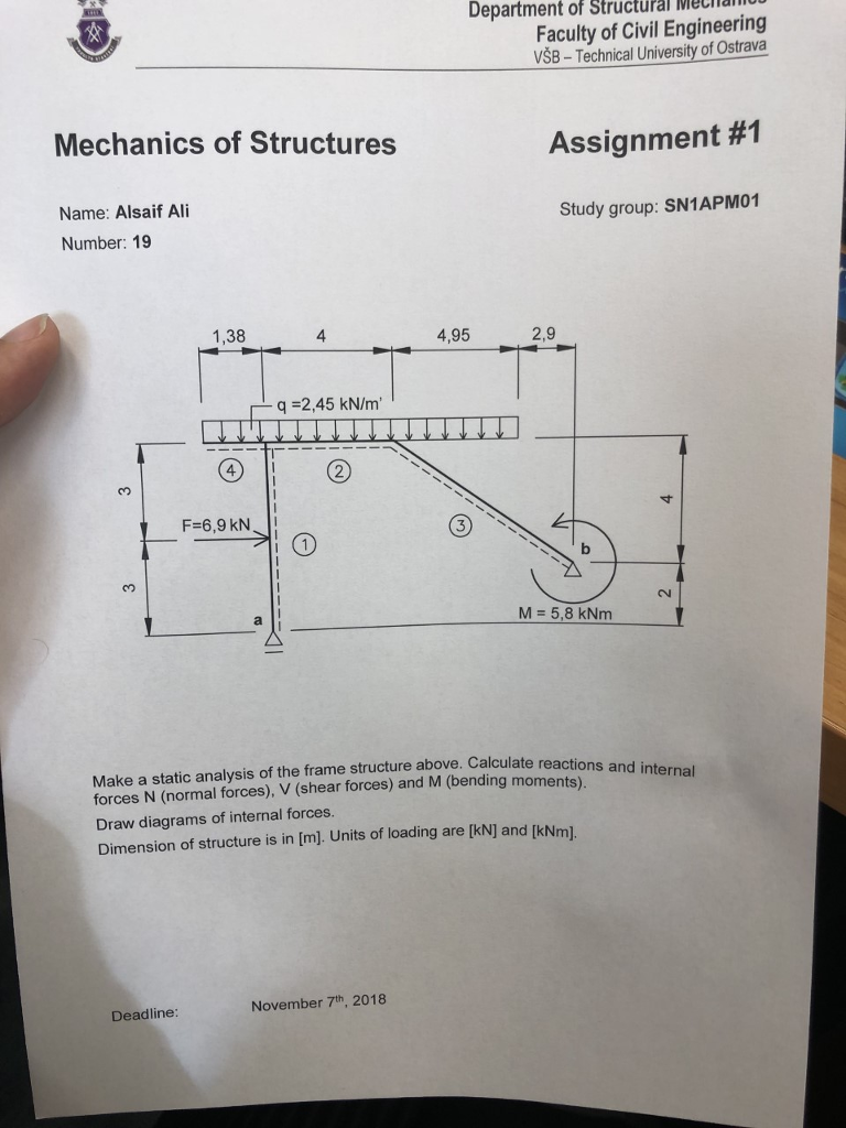 Department Of Structural Eca Faculty Civil Engi Draw The Bending Moment And Shear Force Diagrams F Cheggcom Engineering Vsb Technical University Ostrava Mechanics