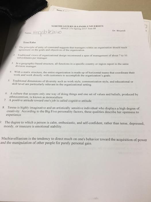 Solved Eastern Illinois University 370 Spring 2017 Test D