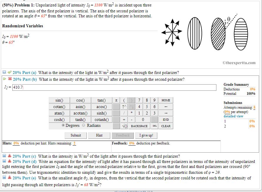 Solved 50 Problem 1 Unpolarized Light Of Intensity 1