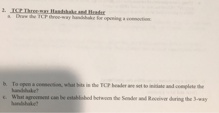 Solved 2 Tcp Three Way Handshake And Header A Draw The