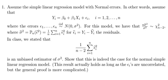 Statistics and probability recent questions chegg 1 assume the simple linear regression model with normal errors in other words fandeluxe Choice Image