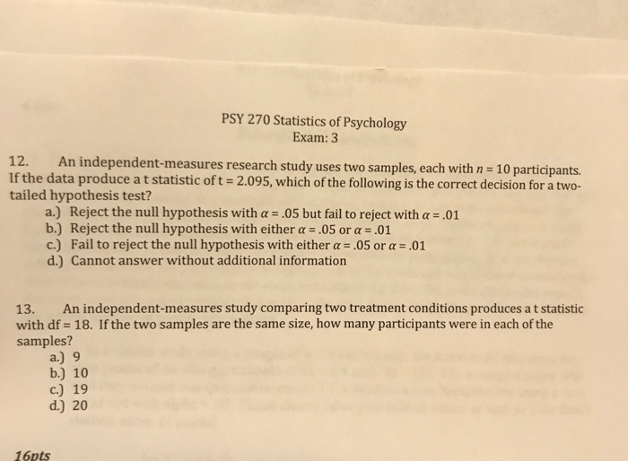 Solved: PSY 270 Statistics Of Psychology Exam: 3 12  An In