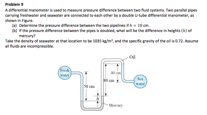 problem 9 a differential manometer is used to measure pressure difference  between two fluid systems