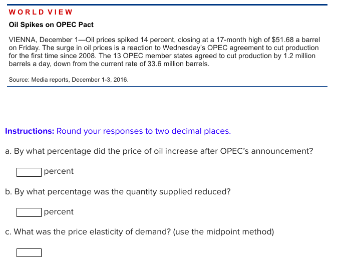 Solved World View Oil Spikes On Opec Pact Vienna Decembe