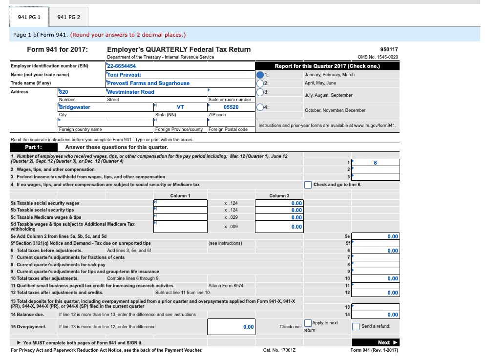 941 form for 2017  Solved: The First Quarter Tax Return Needs To Be Filed For ...