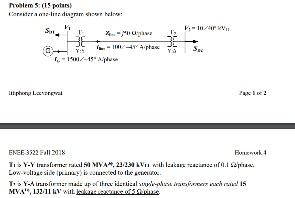 Problem 5 15 Points Consider A One Line Diagram Chegg