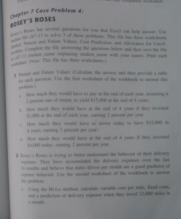solved worksheet chapter 7 case problem 4 rosey s roses r
