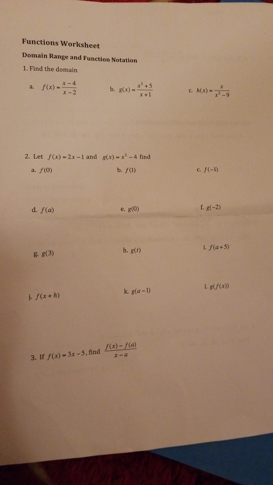Solved: Functions Worksheet Domain Range And Function Nota ...