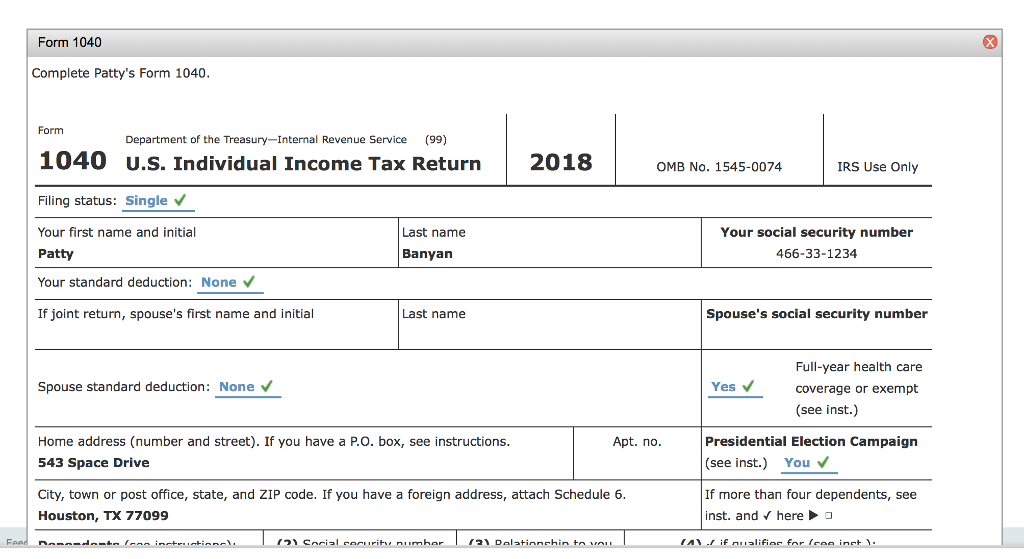 Solved: Form 1040 Complete Patty's Form 1040 Form Departme