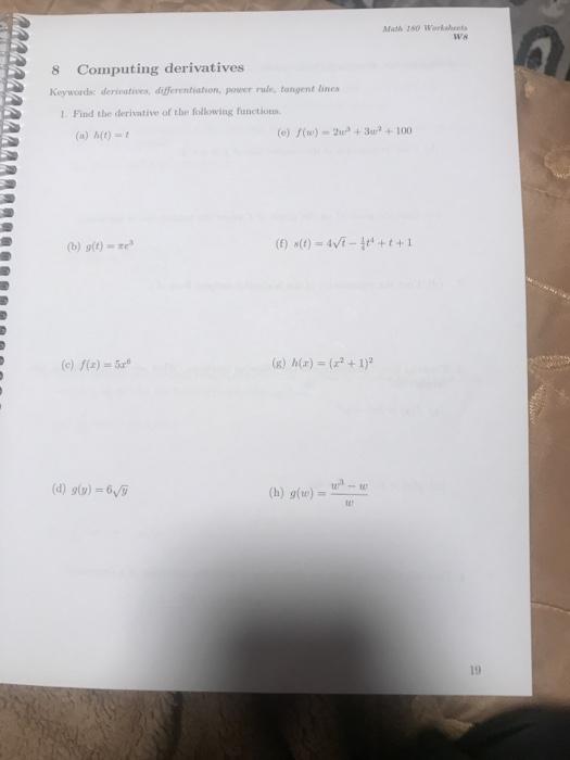 Solved Math 180 Worksheet Ws 8 Computing Derivatives Keyw