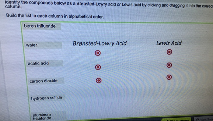 Bronsted Lowry Acids And Bases List