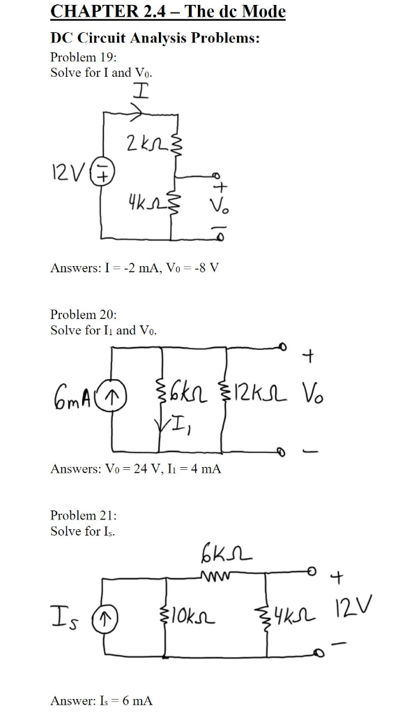 Solved: CHAPTER 2 4- The Dc Mode DC Circuit Analysis Probl