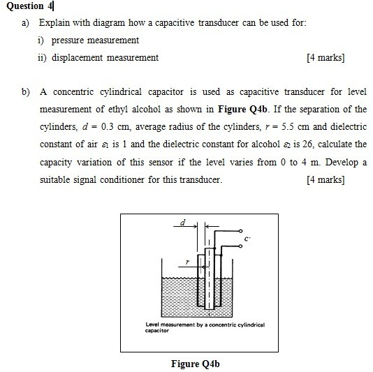 question 4 a) explain with diagram how a capacitive transducer can be used  for: