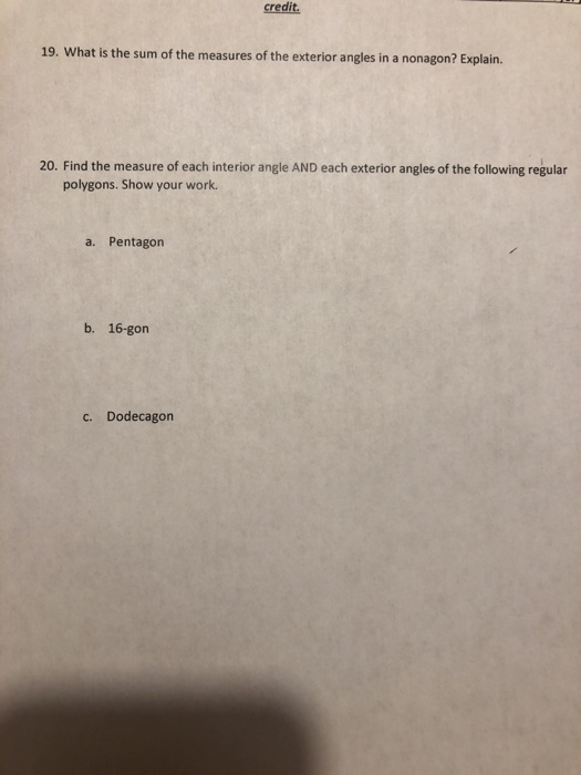 Solved Credit 19 What Is The Sum Of The Measures Of The