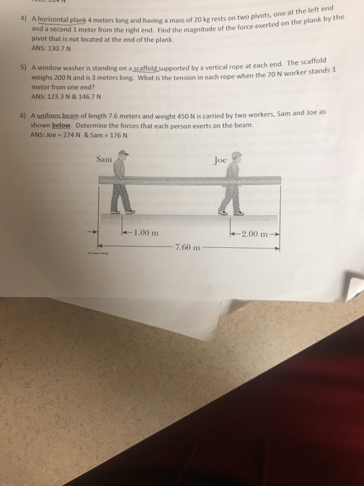 Wandplank 1 Meter.Solved 4 A Horizontal Plank 4 Meters Long And Having And