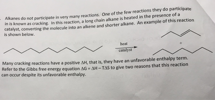 Solved: Alkane Many Reactions  One Of The Few Reactions Th