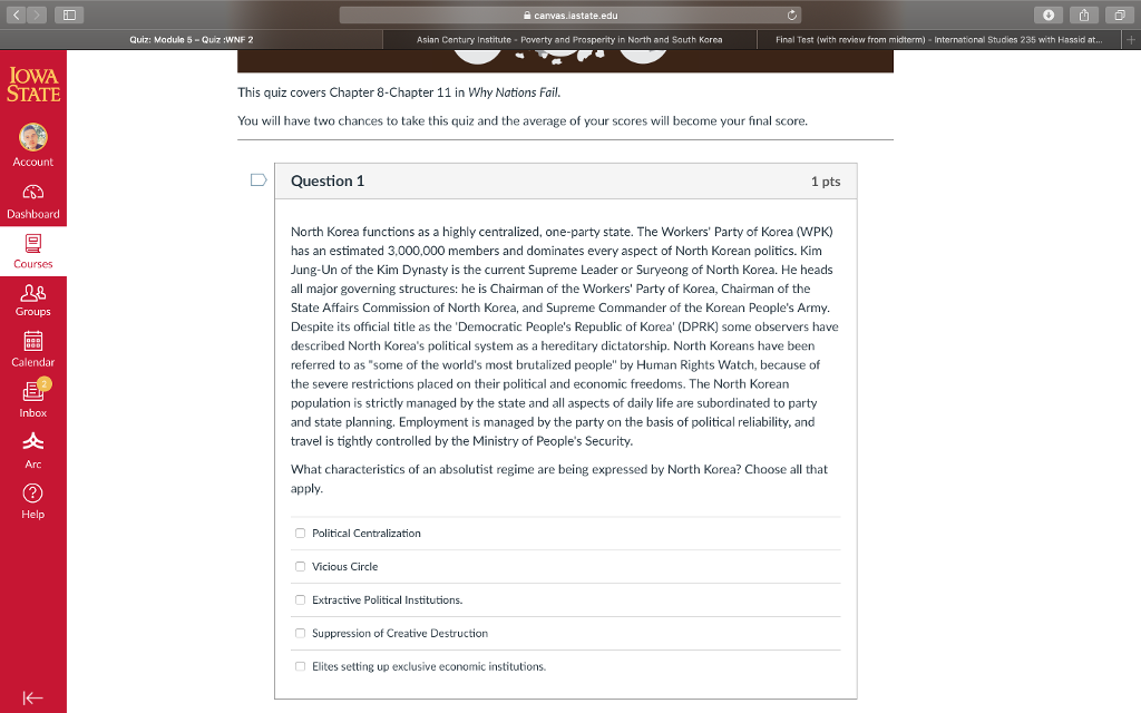 Solved: Canvas iastate edu Quiz: Madule 5-Quiz:WNF 2 Asian