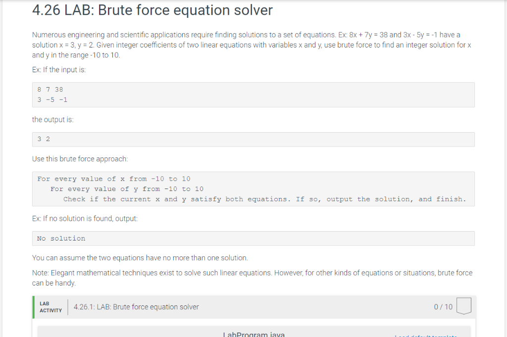 Solved: 4 26 LAB: Brute Force Equation Solver Numerous Eng