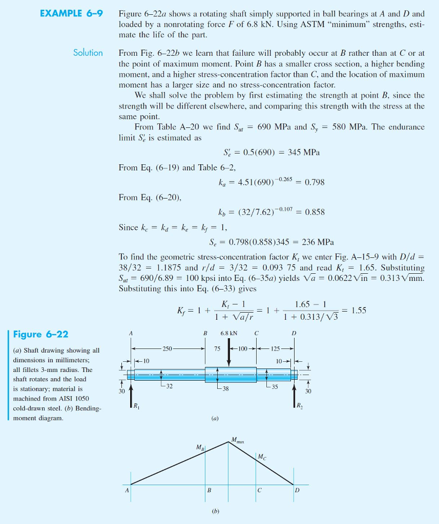 EXAMPLE 6-9 Figure 6-22a shows a rotating shaft simply supported in ball bearings at A and D and loaded by a nonrotating force F of 6.8 kN. Using ASTM minimum strengths, esti- mate the life of the part. Solution From Fig. 6-22b we learn that failure will probably occur at B rather than at C or at the point of maximum moment. Point B has a smaller cross section, a higher bending moment, and a higher stress-concentration factor than C, and the location of maximum moment has a larger size and no stress-concentration factor We shall solve the problem by first estimating the strength at point B, since the strength will be different elsewhere, and comparing this strength with the stress at the same point From Table A-20 we find Sta-690 MPa and S, 580 MPa. The endurance limit Se is estimated as s; 0.5(690) = 345 MPa From Eq. (6-19) and Table 6-2 ka 4.51(690)0260.798 = 0.798 From Eq. (6-20), k (32/7.62)-01070.858 Since kc = k,-ke-kf-1, Se 0.798(0.858)345 236 MPa To find the geometric stress-concentration factor K, we enter Fig. A-15-9 with D/d - 38/32 1.1875 and r/d -3/32 0.093 75 and read K.65. Substituting St690/6.89100 kpsi into Eq. (6-35a) yields Va0.0622Vin 0.313Vmm. Substituting this into Eq. (6-33) gives 1.65 1 1 0.313/ V3 - 1.55 Figure 6-22 B 6.8 kN 75 100 125 (a) Shaft drawing showing al dimensions in millimeters; all fillets 3-mm radius. The shaft rotates and the load is stationary; material is machined from AISI 1050 cold-drawn steel. (b) Bending moment diagram 10 32 35 38 30 30