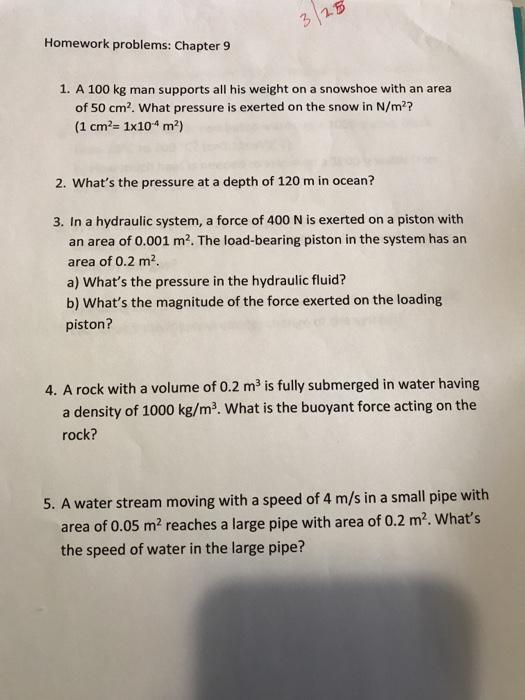 Solved 3 15 Homework Problems Chapter 9 1 A 100 Kg Man