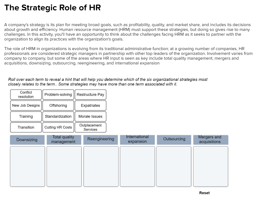 Solved: The Strategic Role Of HR A Company's Strategy Is I ...