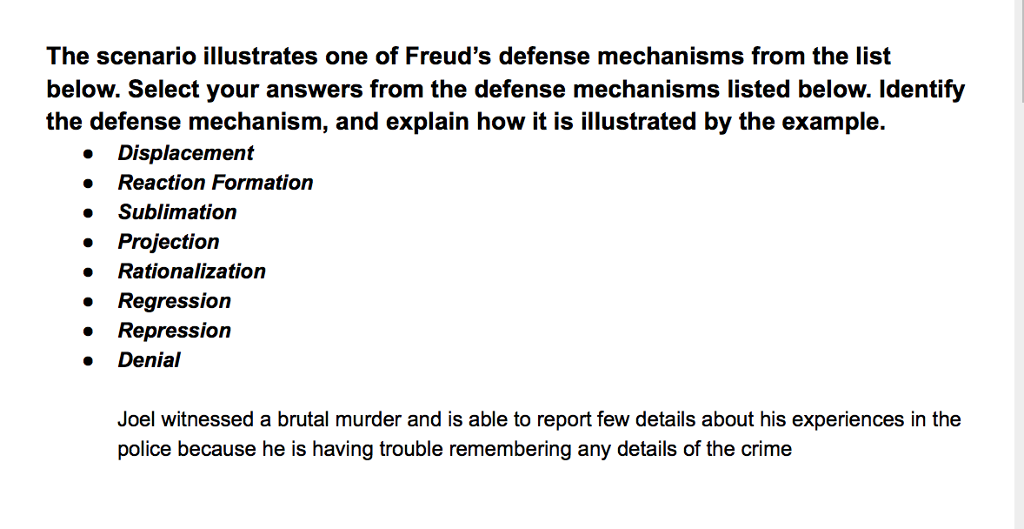 Solved The Scenario Illustrates One Of Freud S Defense Me