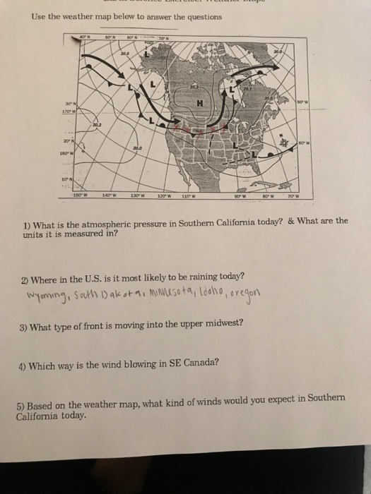 Weather Southern California Map.Solved Use The Weather Map Below To Answer The Questions