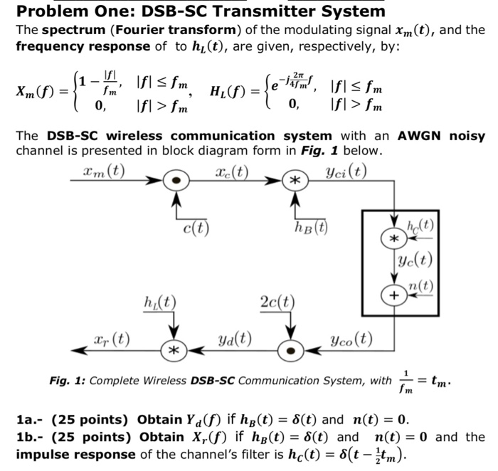 problem one: dsb-sc transmitter system the spectrum (fourier transform) of  the