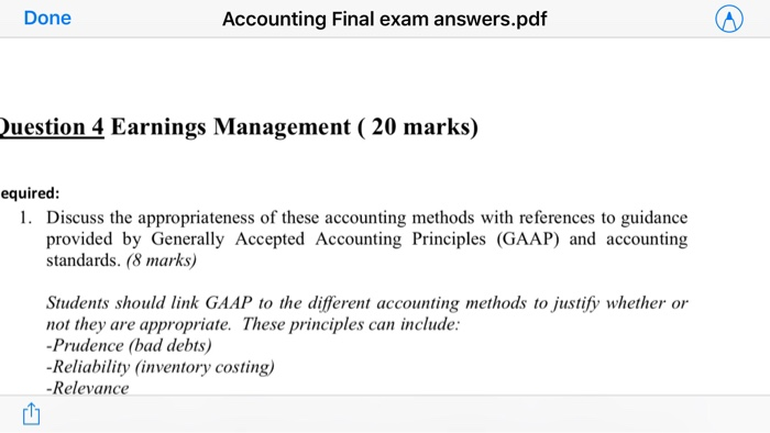 Solved: (20 Marks) Question 4 Earnings Management I&N Pty