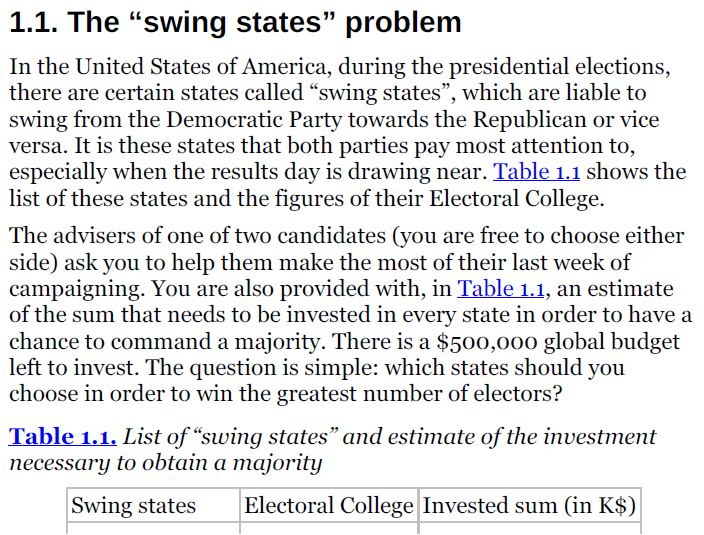 Solved 1 1 The Swing States Problem In The United Stat