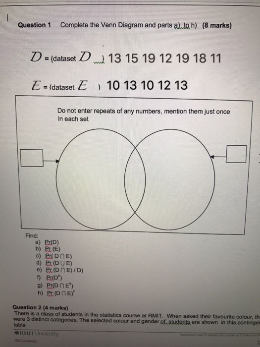 Solved Complete The Venn Diagram And Parts A To H D