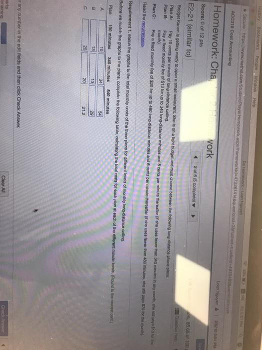 Homework: Cha Score: 0 of 12 pts E2-21 (similar to) vork 21.2