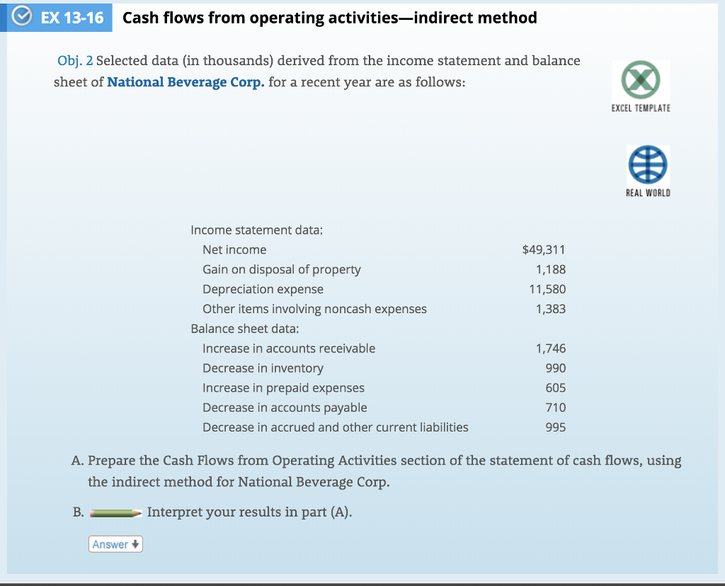 Ex 13 16 Cash Flows From Operating Activities Indirect Method Obj 2 Selected