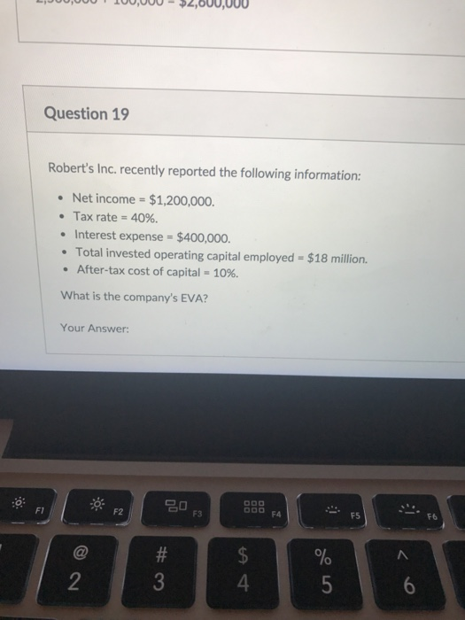 Question 19 Roberts Inc Recently Reported The Following Information Net Income 1 200 000