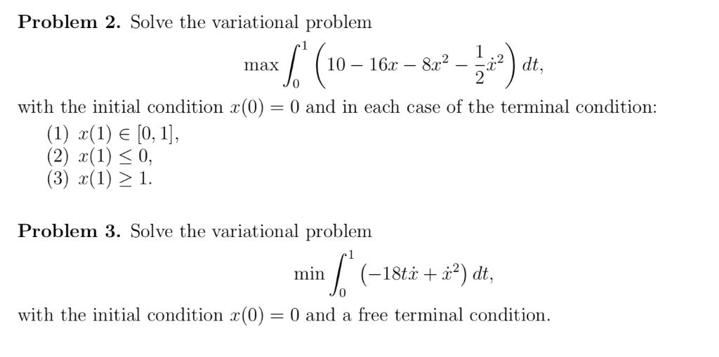 Solved: Problem 2  Solve The Variational Problem 10- 16x