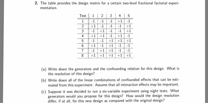 The Table Provides The Design Matrix For A Certain Two Level Fractional Factorial