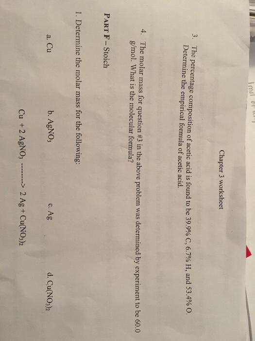 Solved: Chapter 3 Worksheet The Percentage Com Determine T ...