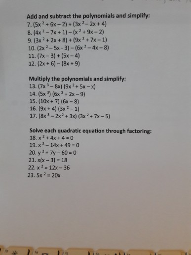 Solved: Add And Subtract The Polynomials And Simplify: 7. | Chegg.com